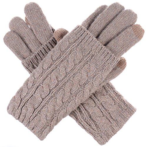 BYOS Women Winter Wool Blend Leafy Texting Knit Gloves W/Two Fingertips Conductive Tech for All Touch-Screen Devices Smartphone & Tablet (Khaki Double Layer Cable) by Be Your Own Style