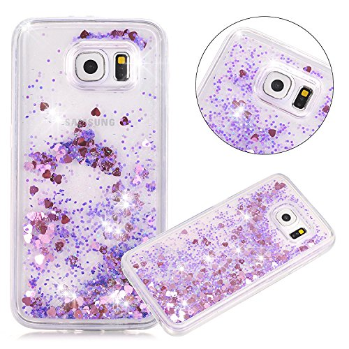 Star Protector Case (Urberry Galaxy S6 Case, Purple Running Glitter Cover, Flowing Liquid Floating Luxury Bling Glitter Sparkle Hard Case for Samsung Galaxy S6 with a Free Screen Protector)