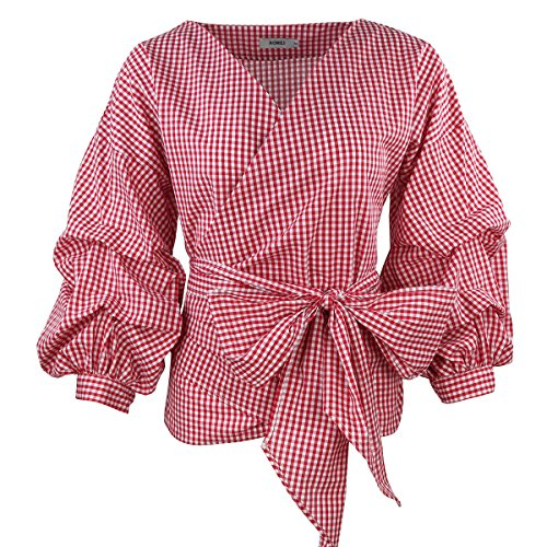 (AOMEI V Neck Red Plaid Blouse Retro Gingham People Tops with Waistbelt for Women Shirts Size S)