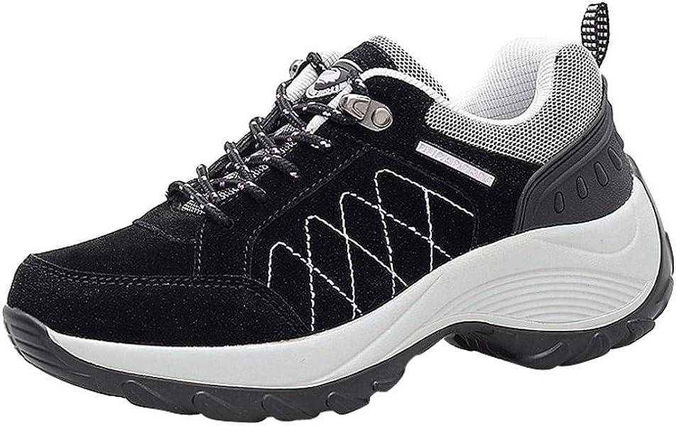 Zapatillas de Deportivo Plataforma para Mujer Otoño Invierno 2018 Moda PAOLIAN Cómodos Senderismo Zapatos de Deportes de Exterior Running Negras Señora ...