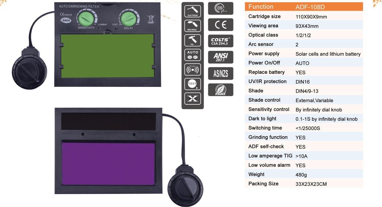 Lente de repuesto para máscara de soldadura Nuzamas, oscurecimiento automático, pantalla LCD, 110 mm x 90 mm x 9 mm: Amazon.es: Bricolaje y herramientas