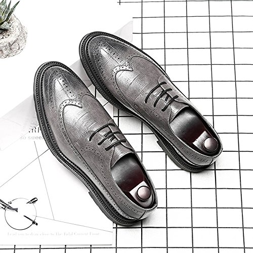 Scarpe Formal Pu formata da uomo Grey in Mxnet Oxford Lace Design Up Hollow moda Classic Brogue per Square pelle formale Business Texture 5H8qaa