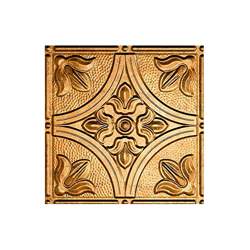 FASÄDE Easy Installation Traditional Style/Pattern #2 Muted Gold Glue Up Ceiling Tile/Ceiling Panel (12X12 Inch Sample) (Gold Trim Flooring)