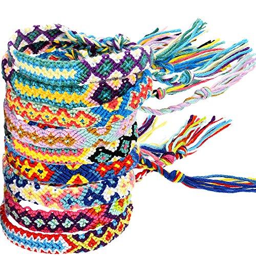 (Zhanmai 10 Pieces Woven Bracelets Handmade Friendship Bracelets Multi Color Braided Bracelet for Wrist Ankle)