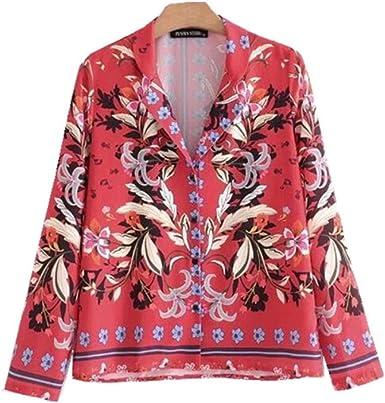 Meaeo Cuello Muesca con Estampado Vintage Hojas Kimono Camisa ...