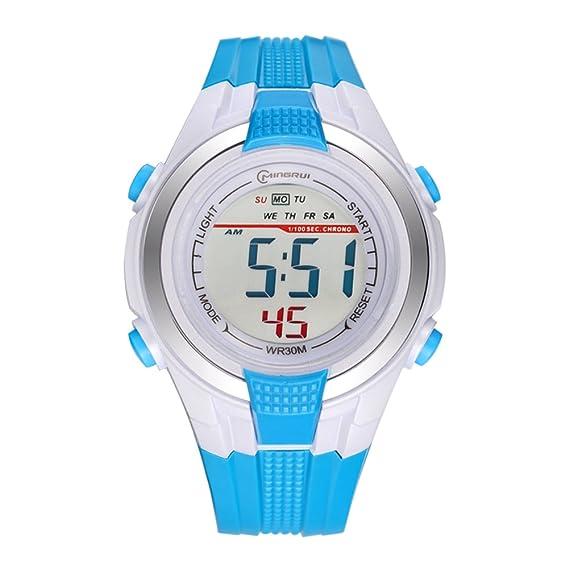 [Niño] Electrónico Relojes Niña Multifunción [Movimiento] Reloj Impermeable Estudiante Alarma de Tiempo Reloj Pin de Goma Hebilla Correa -E: Amazon.es: ...
