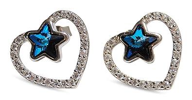 581a59c28738 DIVADIS Pendientes Mujer Plata de Ley 925 con Cristales Swarovski ...