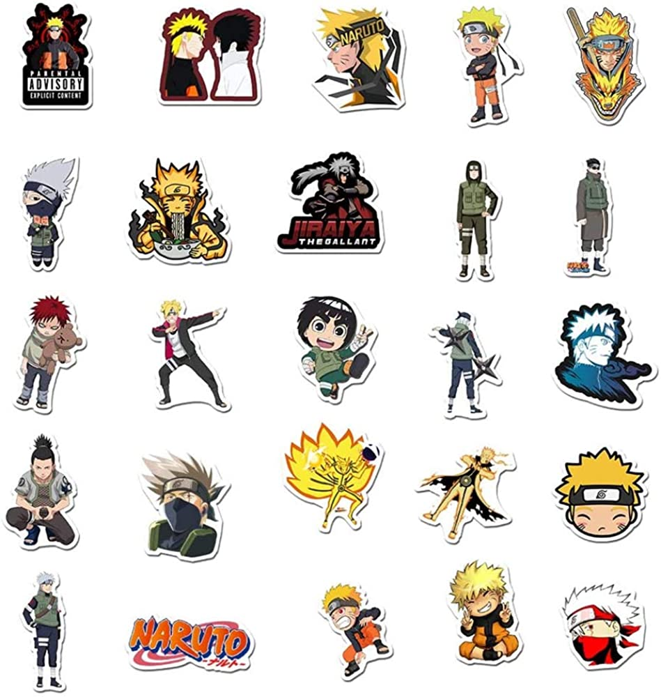 for Kids//Adults Ninja Themed Party Black Naruto Anime Necklace with 50 Pieces Stickers for Halloween Cosplay,Anime