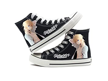 Seraph Of The End Anime Canvas Shoes Cosplay Shoes Sneakers Black/White