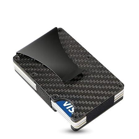 SEMLIMIT Kartenetui Carbon schwarz | Kreditkartenetui mit Geldklammer RFID Schutz | Slim Wallet für 1 bis 15 Karten - Herren