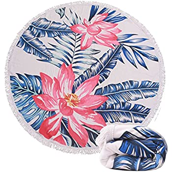 (7 Patterns) Thick Terry Round Beach Towel/Round Beach Blanket/Round Beach Mat Roundie Tapestry/ Round Yoga Mat with Fringe Tassels(04 Hawaii)