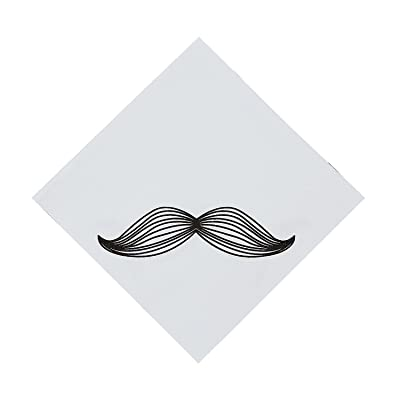 Fun Express - Mustache Party Lunch Napkins - Party Supplies - Print Tableware - Print Napkins - 16 Pieces: Toys & Games