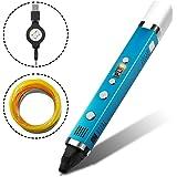 AFUNTA Plumas para Impresión 3D de Tercera Generación de con ABS o PLA 1.75mm Filamentos de Dibujo 3D y Modelo de Impresión, Pantalla OLED - Azul