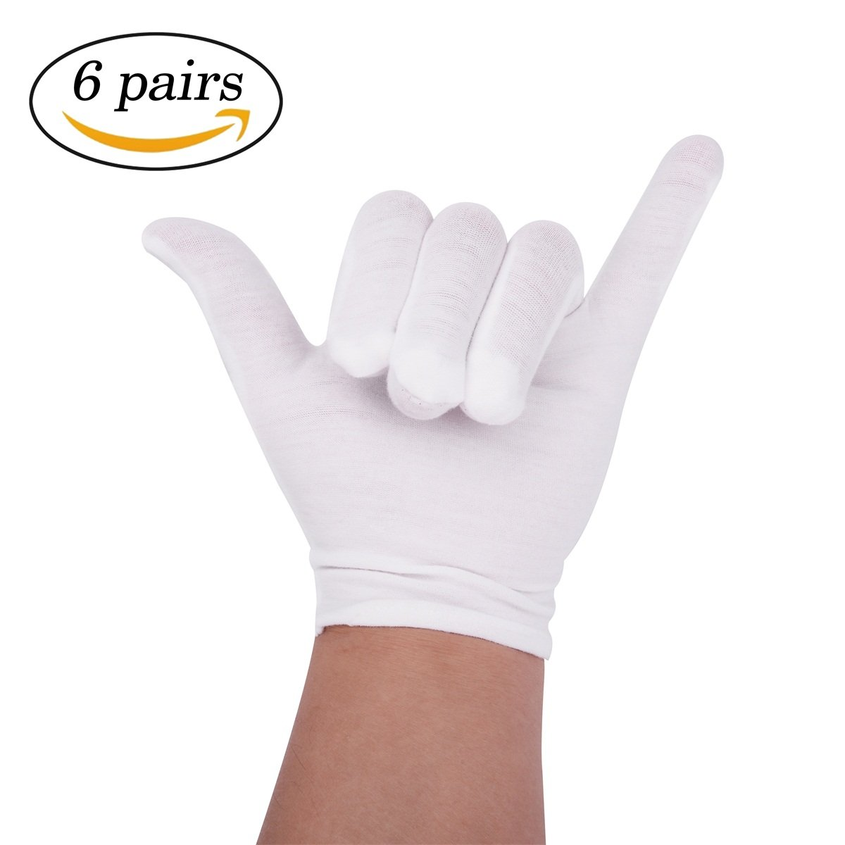 6 Pairs White Cotton Gloves for Cosmetic Moisturizing Coin Jewelry Inspection 20 Cm Wei Shang
