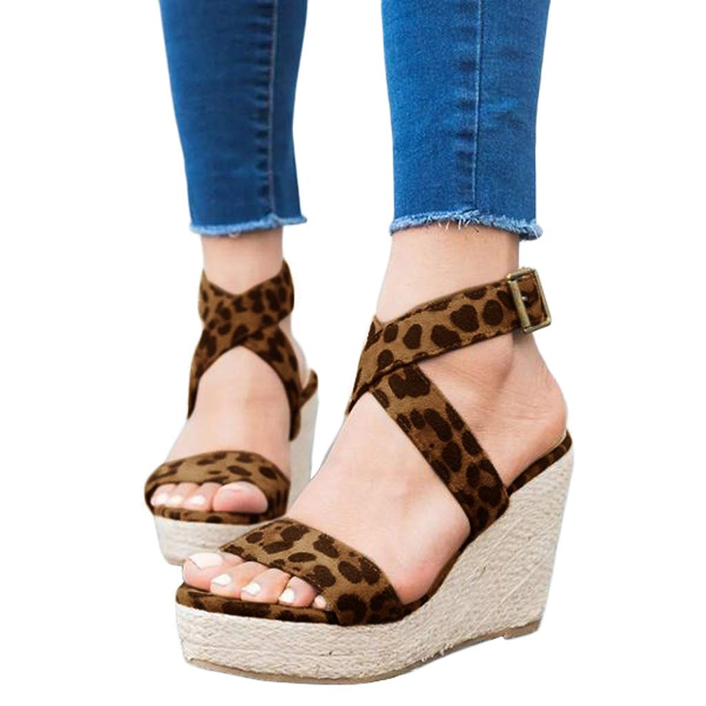 Ermonn Womens Wedge Espadrilles Platform Sandals Open Toe Buckle Ankle Strap Summer Slingback Shoes