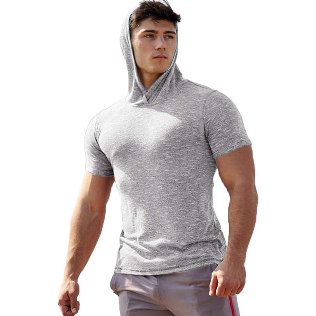 COOFANDY Men's Short Sleeve Workout Hoodies Casual Quick Dry Top Summer Autumn