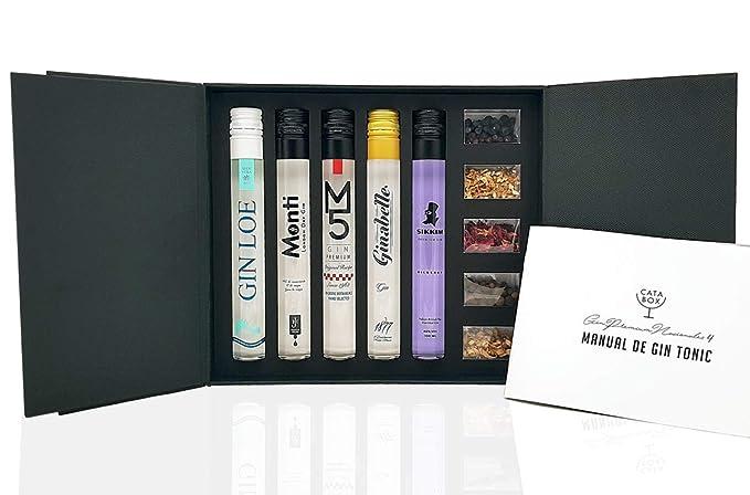 CATABOX - Juego de CATA Ginebras Premium Españolas 4 - Kit Gintonic Regalo - 5 Gins premium (500ml) + 5 Botánicos Especias para Gin Tonic para Regalar