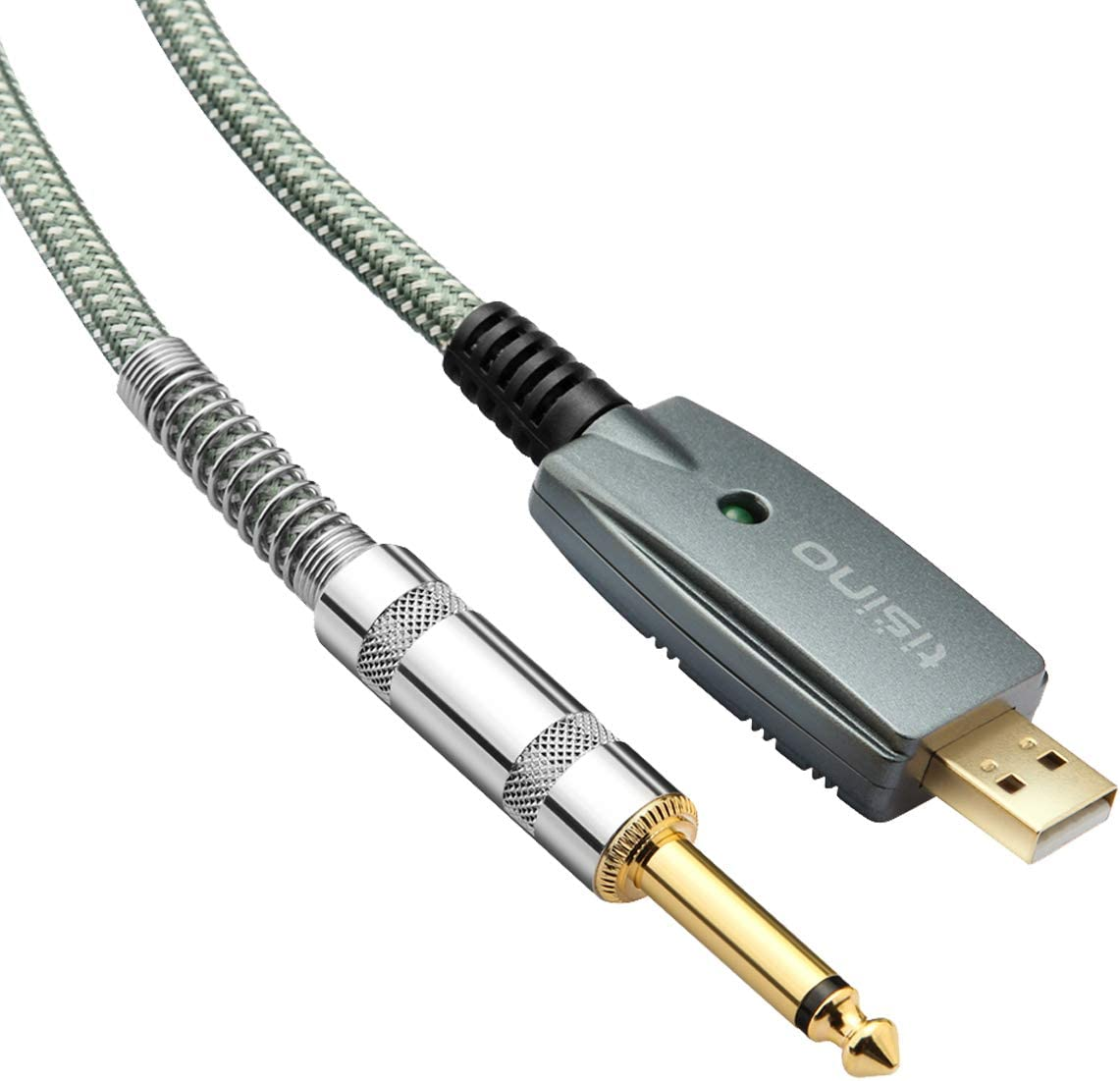 TISINO USB Guitar Cable, 10 ft USB to 1/4 inch TS Mono Jack Instruments Cord