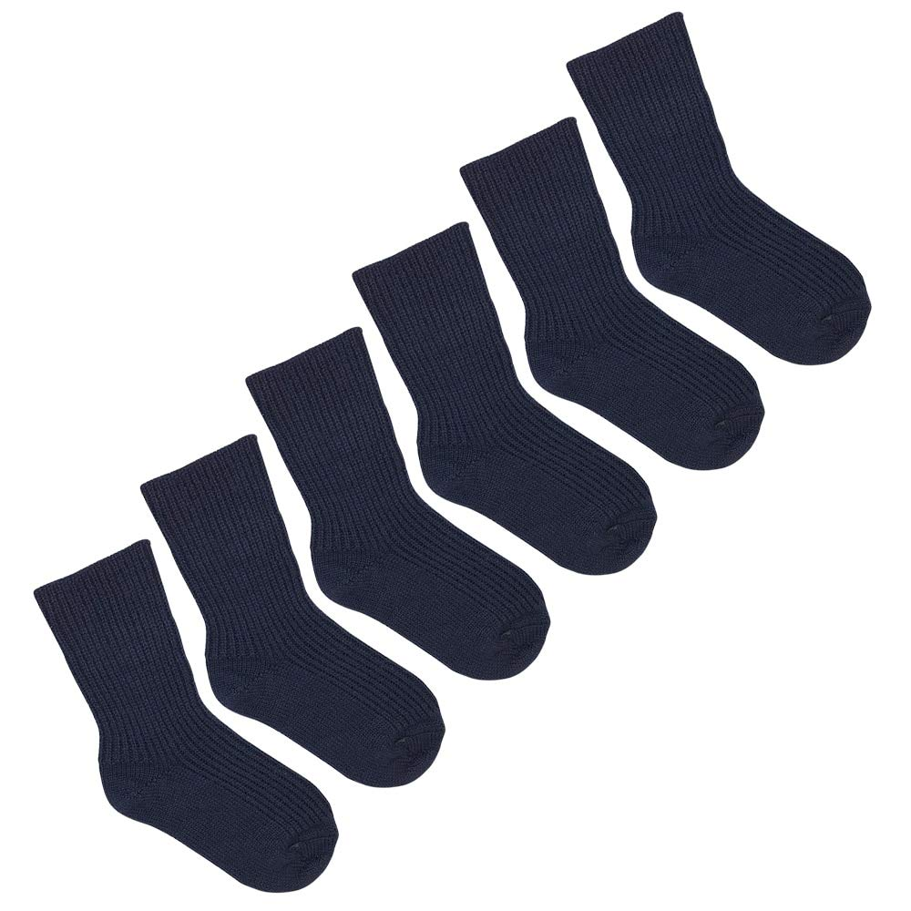 Kids Wool Socks: Pure Organic Virgin Wool Socks for Girls and Boys, Size Baby - 8 Years (EU 31-32 | 6-7 Years, Navy Blue, 3-pack) by Ecoable