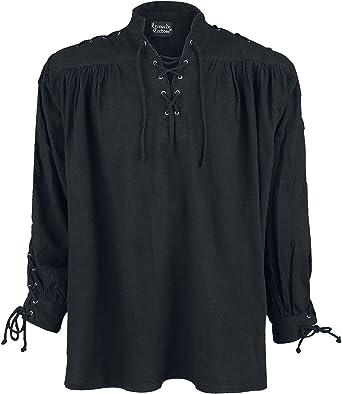 Leonardo Carbone Camisa Medieval con Cordón y Ojales Hombre Camiseta Negro, Schnürung: Amazon.es: Ropa y accesorios