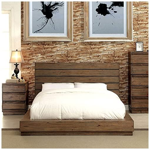 Bedroom 247SHOPATHOME Platform bed, Queen, Walnut farmhouse beds and bed frames