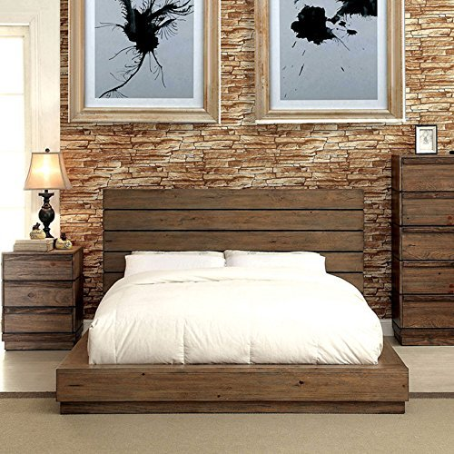 247SHOPATHOME IDF-7623EK Platform Bed, King, Walnut