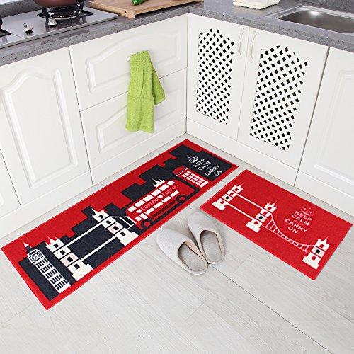 Carvapet 2 Piece Non-Slip Kitchen Mat Rubber Backing Doormat Runner Rug Set, City Bus Design (Red 15