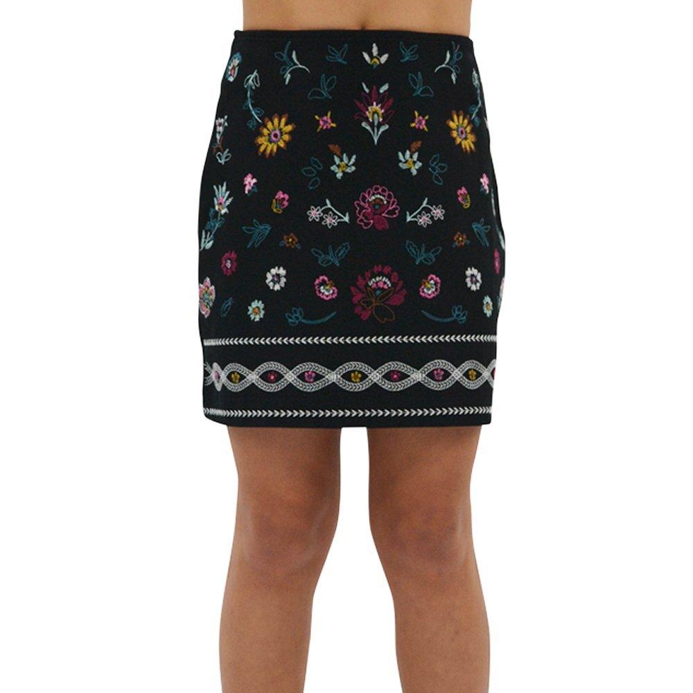 Ella Moss Tween Girls Kera Ponte Skirt with Embroidery in Black