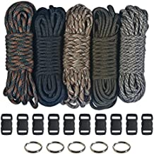 """Paracord 550  Kit - Five Colors (Olive Drab, ACU, Woodland Camo, Desert Camo, & Black) 100 Feet Total w/10 3/8"""" Black Side Release Buckles & (5) 32mm Key Rings"""