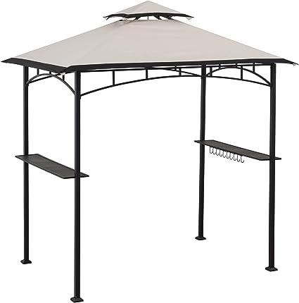 Amazon Com Sunjoy Mynah 5 X 8 Ft Steel 2 Tier Grill Gazebo Tan Black Garden Outdoor