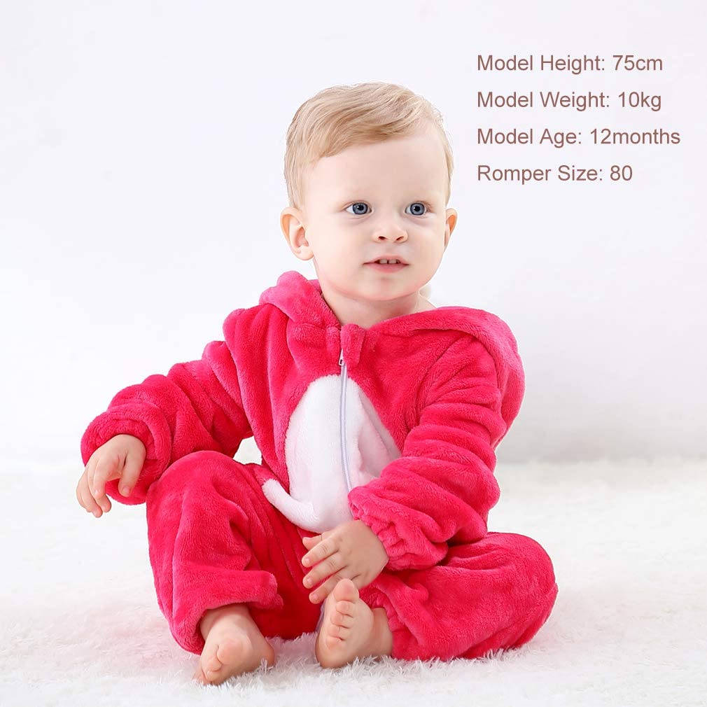 MICHLEY Unisex Baby Hooded Romper Soft Flannel Winter Animal Cosplay Costume Outfit