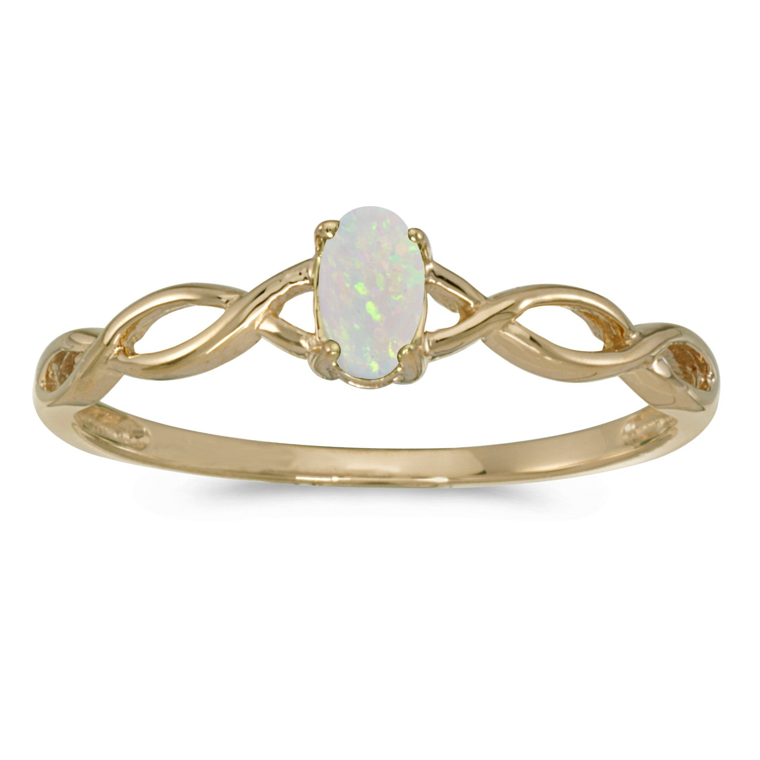 0.08 Carat ctw 10k Gold Oval White Opal Solitaire Infinity Twisting Engagement Fashion Promise Ring - Yellow-gold, Size 7.5