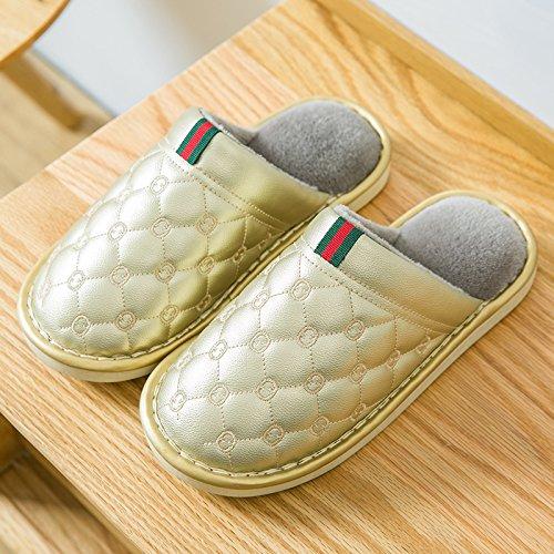 Y-Hui zapatillas de algodón impermeable femenina interior de invierno Home Furnishing pareja Pu patinaje zapatillas grueso al final de otoño invierno Golden