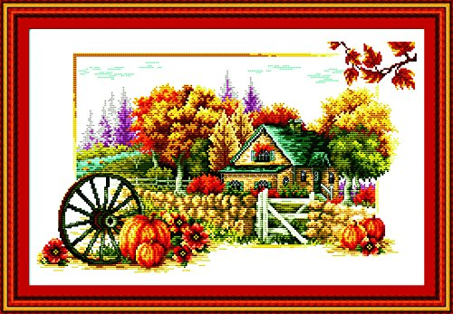 Joy sunday Stamped Cross Stitch Kits of Golden Autumn Printe