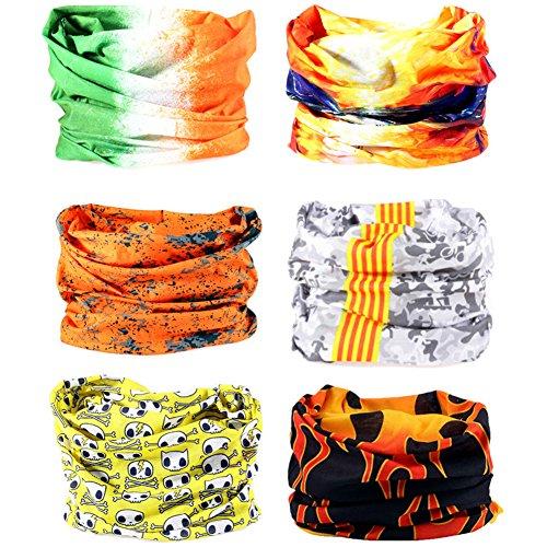 16-in-1 12PCS/8PCS/6PCS Multifunctional Headwear Yoga Sports Stretchable Casual Headband Seamless Uv Solid Moisture Neckwarmer Headwrap Mask Bandana Scarf (6PCS-DHS Yellow)