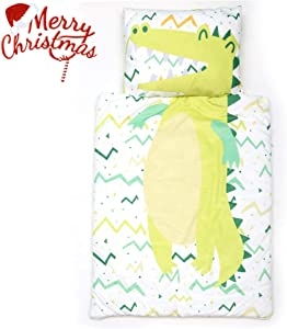 MICBRIDAL Kids Slumber Bag with Removable Pillow Boys Girls Super Soft Cotton Nap Mat for Toddlers Sleeping Bag with Zipper for Preschool Daycare Sleepovers(Crocodile)