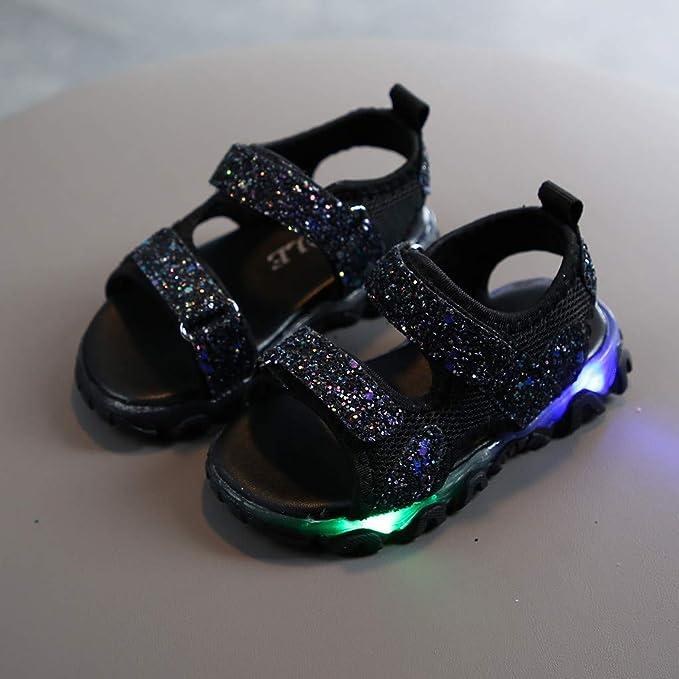 Mousmile Kids Girls Sandals Sparkling Luminous LED Light Up Shoes Princess Cute Unicorn Open Toe Sport Sandals Anti Slip