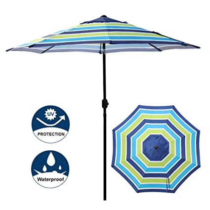 Blissun 9u0027 Outdoor Aluminum Patio Umbrella, Market Striped Umbrella With  Push Button Tilt And
