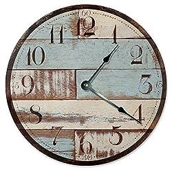 RUSTIC CLOCK Decorative Round Wall Clock Home Decor Wall Clock Large 10.5 Novelty Clock PRINTED BLUE TAN WOOD LOOK