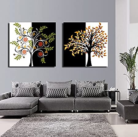 999store Framed Canvas Multiple Frames Colourful Tree Painting Hand