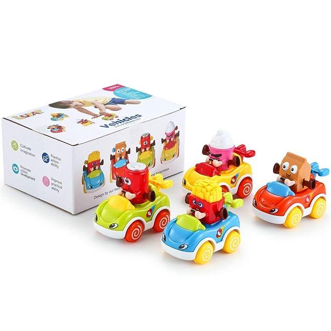 LUKAT - Pack de 4 Juguetes para bebé, Coches de Juguete para niños y niñas de 1 años (+18 meses) . Vehículos infantiles refresco, helado, patatas y ...