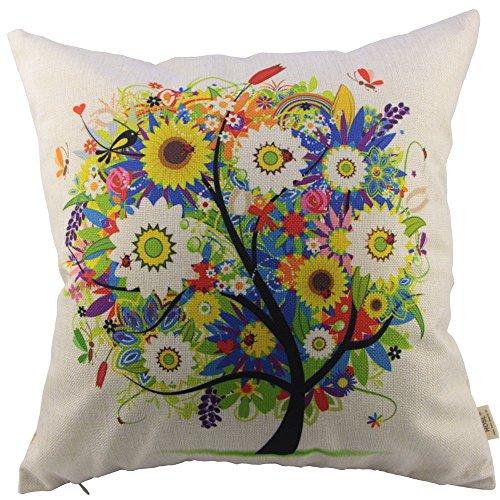 HOSL Flowers Tree Square Decorative Throw Pillow Case Cushio