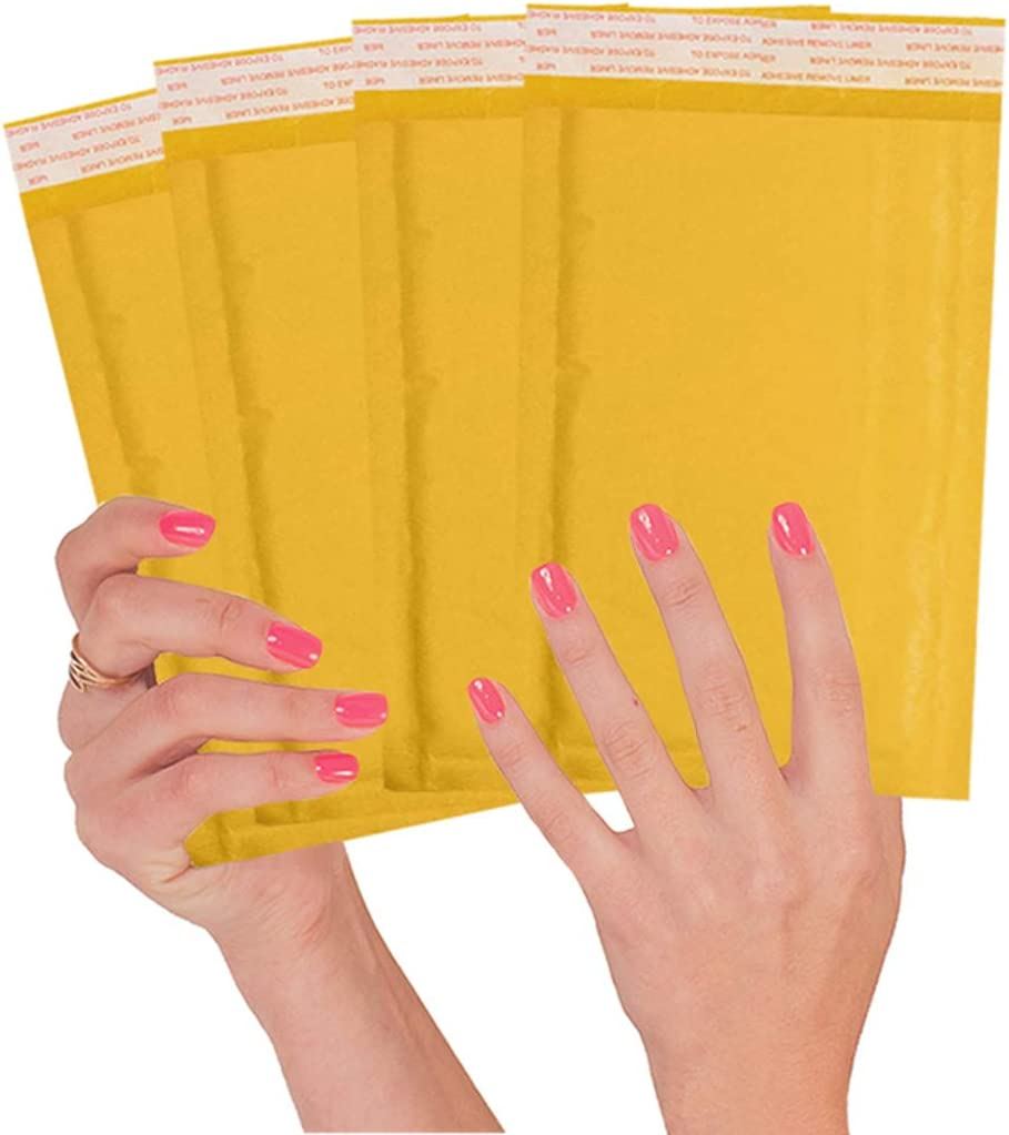 ABC 50 Pack Kraft Padded Envelopes 4x8 Bubble Mailers 4 x 8 Gold Kraft Bubble Envelopes. Peel and Seal. Yellow Cushion Envelopes for mailing, Packing, Packaging. Shipping mailers in Bulk, Wholesale.