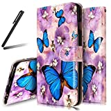 iPhone 6S Stand Case,iPhone 6 Wallet Case,iPhone 6 Cover,Flip Case for iPhone 6 / 6S,SKYMARS iPhone 6S Cover Gloss Skin 3D Creative Design Book Style PU Leather Flip Kickstand Cards Slot Wallet Magnet Protective Stand Case for iPhone 6 / 6S 4.7 inch Purple Flower Butterfly