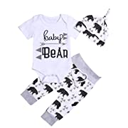 Newborn Baby Boy Girl Clothes Baby Bear Short Sleeve White Summer Toddler Kids Outfit Sets(0-3months)