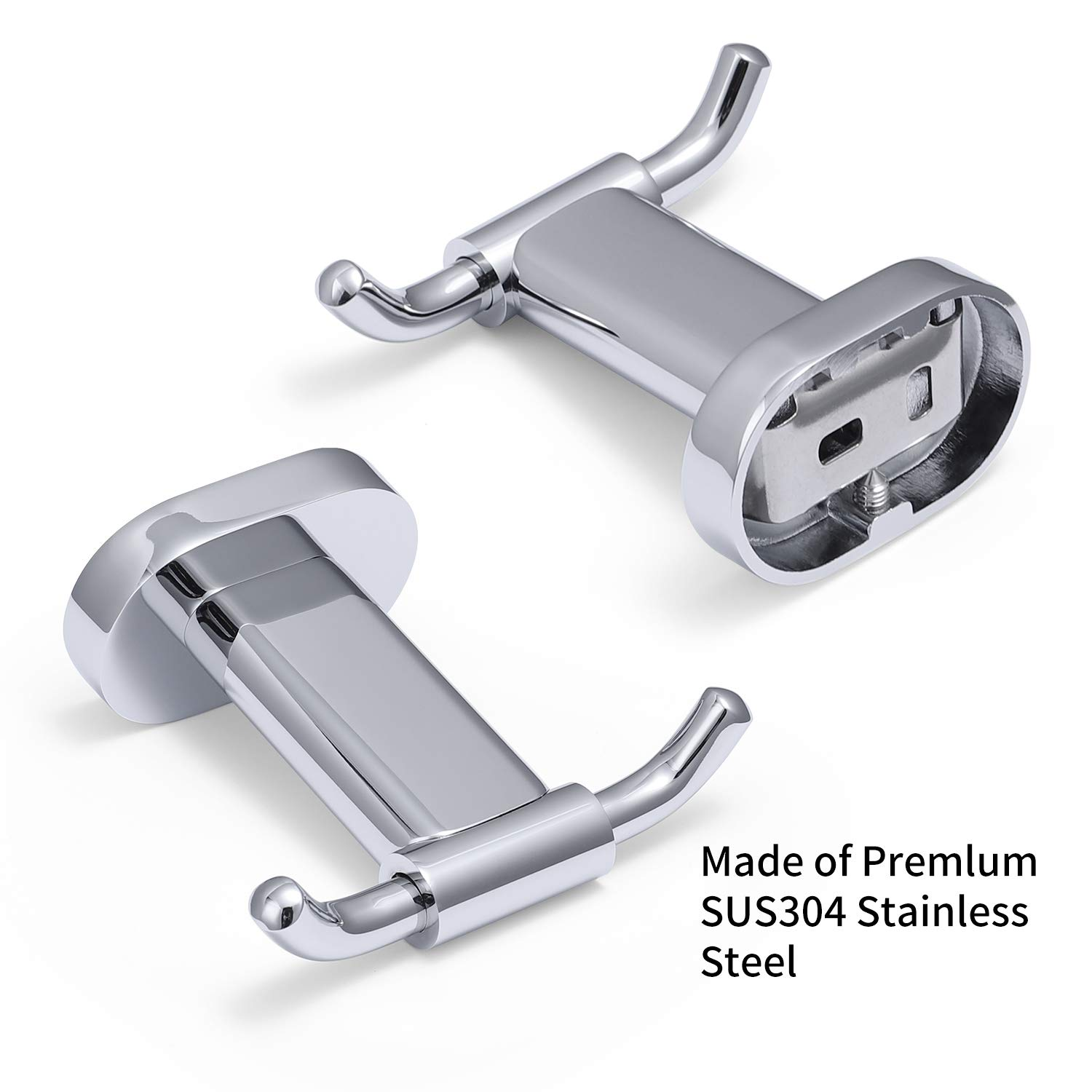 HomGif Double Towel Robe Hook Dual Clothes Hanger Holder Heavy Duty Wall Mounted for Bathroom Shower Kitchen Polished Chrome