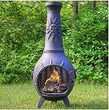 Outdoor Chimenea Fireplace Sun In Charcoal Finish