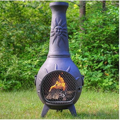 Outdoor Chimenea Fireplace - Sun in Charcoal Finish (Without Gas) by The Blue Rooster