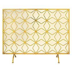 UMA Enterprises Home and Hearth Rustic Iron Diamond Weave Fireplace Screen by UMA Enterprises Inc