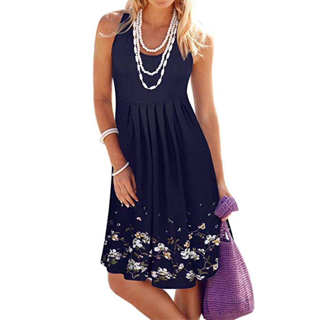 Womens Summer Halter Sleeveless Party Party Skirt Printed Short Dress